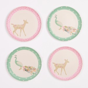 Love Mae - 4pk-plates_peacock-and-doe