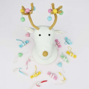 Fiona Walker England Cream Pom Pom Reindeer Head
