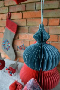 Red and Teal Honeycombe Hanging Decorations